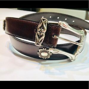 Fossil Leather and Silver Embellished Belt